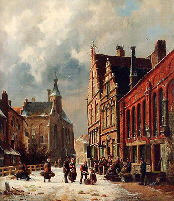 Wonderful oil painting old town landscape - A View In A Town In Winter 36""