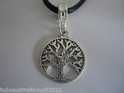 6 x TREE OF LIFE Antique Silver Pendants on Black Cord Necklace(140215)