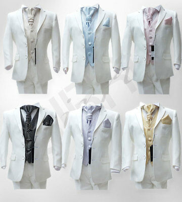 Boys Ivory Suit 5 Pcs Formal Page Boy  Wedding Cravat Suits