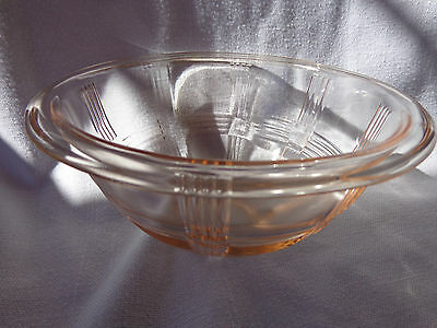 ANTIQUE VINTAGE PINK DEPRESSION GLASS HAZEL ATLAS CRISS CROSS 7 5/8 MIXING BOWL