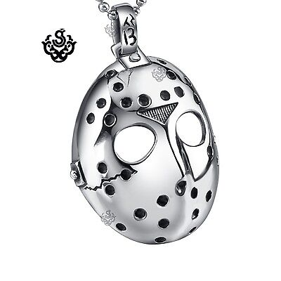 Silver Friday the 13th mask pendant replica stainless steel ball chain necklace