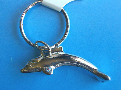 Metal Key Chain * Key Ring * SILVER LEAPING DOLPHIN/PORPOIS * New