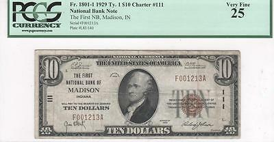 $10 Nat'l Currency, 1929 Ty 1, CH111, First NB, Madison, Indiana, PCGS VF25