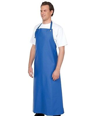 Vinyl Aprons no pocket Bib Style for Food Preparation Royal or White adjustable
