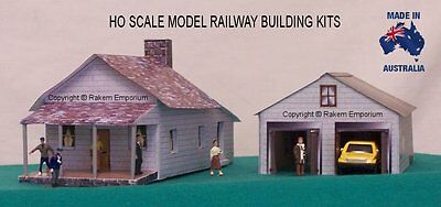 HO Scale House with 3D Garage, Model Railway Building Kit - REHG1