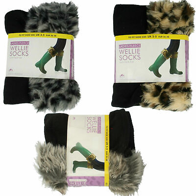 Ladies Anucci Fleece Wellie Socks/liners With Faux Fur Cuff - Sk236