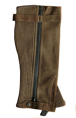 New Ladies Mens Brown Washable Amara Suede Horse Riding Half Chaps Gaiter 5 Size