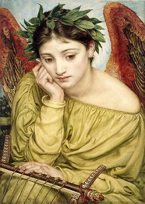 Oil painting Edward John Poynter - Nice young angel girl seated in landscape