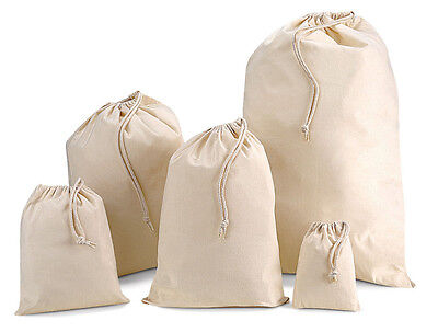 Various size cotton stuff/gift/party bags with draw string - colour natural