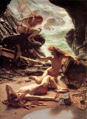 Oil Edward John Poynter - Naked young girls nymph Storm shelter in caves canvas