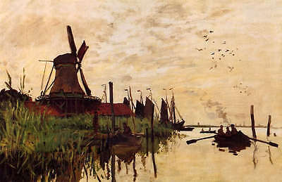 Charming Oil painting impression landscape with canoe on the river & Windmill