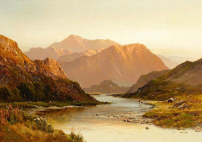 Beautiful Oil painting nice landscape Above Glen Falloch Scotland with sunrise