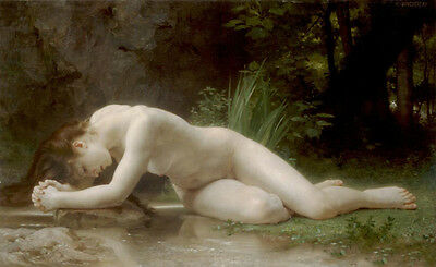 Oil painting William-Adolphe Bouguereau - Biblis Young girl bathing in landscape