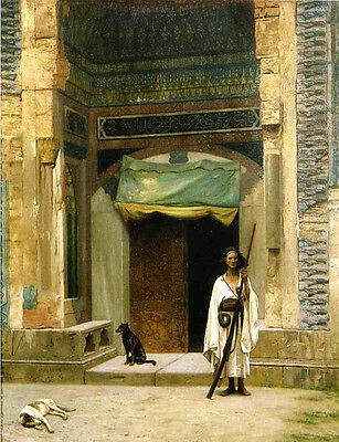 """Oil painting Jean-Leon Gerom - Door of the Green Mosque & Guard dogs canvas 36"""""""