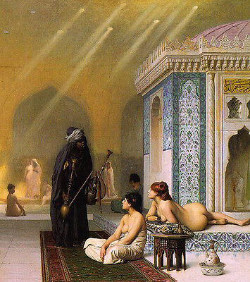 Fine Oil painting Jean-Leon Gerom - Ancient Egypt Harem Pool & Young girl bather