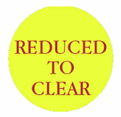 100 x Reduced To Clear 40mm Round Self Adhesive Removable Price Labels Stickers
