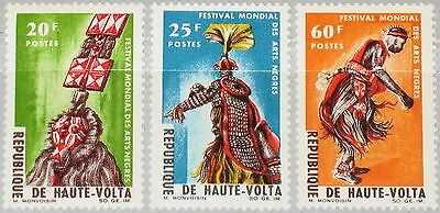 UPPER VOLTA OBERVOLTA 1966 182-84 162-64 Negro Arts Festival Dancer Music MNH