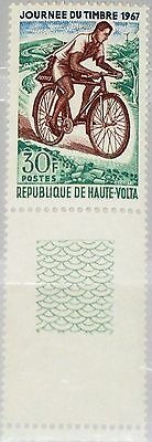 UPPER VOLTA OBERVOLTA 1967 228 180 Zf Stamp Day Mailman on Bicycle Fahrrad MNH