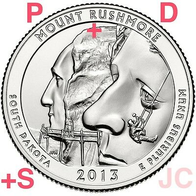 2013 P D S Mount Rushmore National Memorial STATE PARK QUARTER 3 Coin set #20 Mt