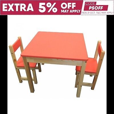 Childrens Wood Table and + 2 Chairs Square Kids Furniture Set RED