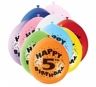 5th HAPPY BIRTHDAY BALLOONS pack of 10 - AGE 5  BIRTHDAY PARTY BALLOONS boy girl