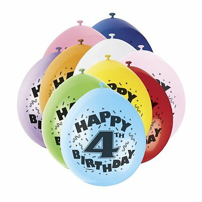 4th HAPPY BIRTHDAY BALLOONS pack of 10 - AGE 4  BIRTHDAY PARTY BALLOONS boy girl