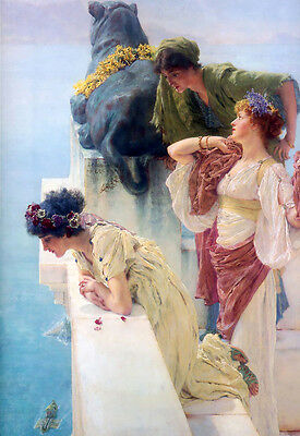 Oil painting Lawrence Alma-Tadema - A Coin of Vantage Young girls by ocean