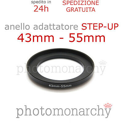 Anello STEP-UP adattatore da 43mm a 55mm filtro - STEP UP adapter ring 43 55 mm