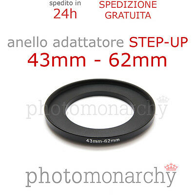 Anello STEP-UP adattatore da 43mm a 62mm filtro - STEP UP adapter ring 43 62 mm