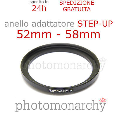Anello STEP-UP adattatore da 52mm a 58mm filtro - STEP UP adapter ring 52 58 mm