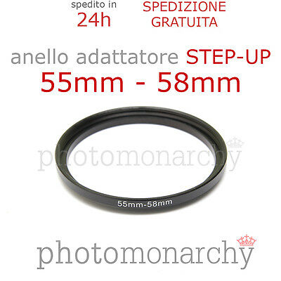 Anello STEP-UP adattatore da 55mm a 58mm filtro - STEP UP adapter ring 55 58 mm