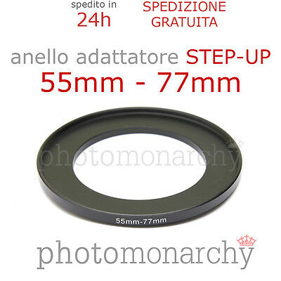 Anello STEP-UP adattatore da 55mm a 77mm filtro - STEP UP adapter ring 55 77 mm