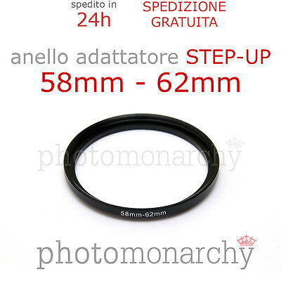 Anello STEP-UP adattatore da 58mm a 62mm filtro - STEP UP adapter ring 58 62 mm