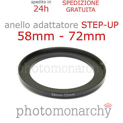Anello STEP-UP adattatore da 58mm a 72mm filtro - STEP UP adapter ring 58 72 mm