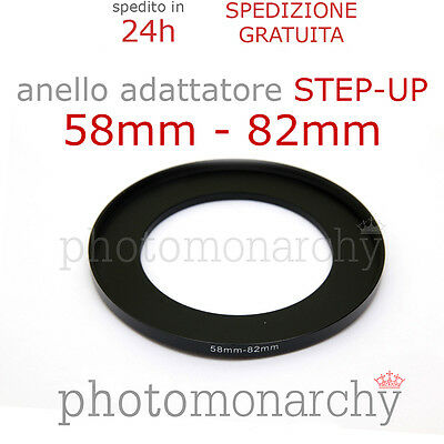 Anello STEP-UP adattatore da 58mm a 82mm filtro - STEP UP adapter ring 58 82 mm
