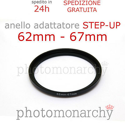Anello STEP-UP adattatore da 62mm a 67mm filtro - STEP UP adapter ring 62 67 mm