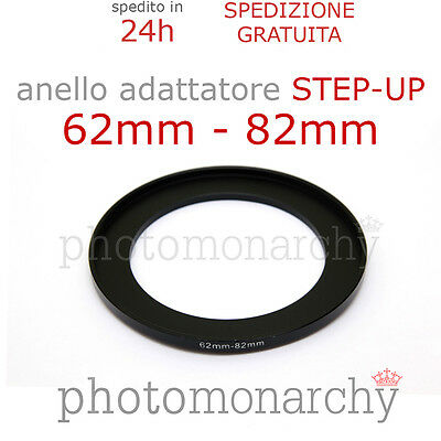 Anello STEP-UP adattatore da 62mm a 82mm filtro - STEP UP adapter ring 62 82 mm
