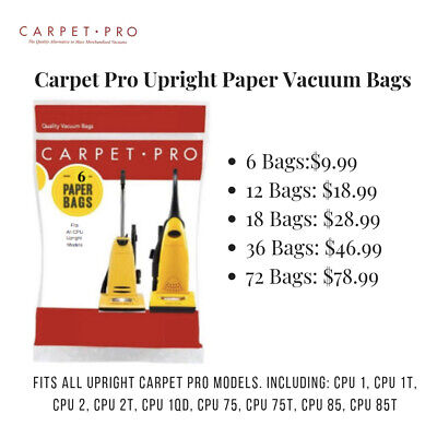 Carpet Pro Vacuum Cleaner Bags, CPU Commercial Vacuum Bags  Part# 06.153 (CPP-3)