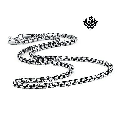 Silver necklace solid stainless steel vintage style link chain