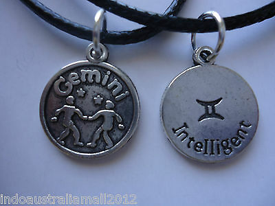 1 x Western Zodiac Sign GEMINI Antique Silver Alloy Pendant Necklace (LB-143070)