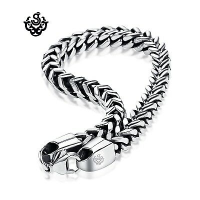 Silver black stainless steel vintage style solid link chain bracelet soft gothic