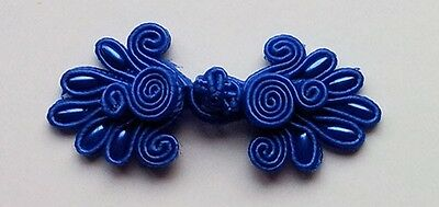 6 pairs dark blue bead Chinese Frogs buttons enclosures sewing NEW