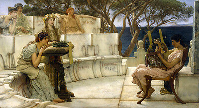 Oil painting Lawrence Alma-Tadema - Young man player with young girls in view