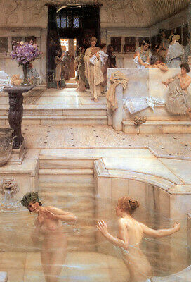 Oil painting Lawrence Alma-Tadema - Naked Young girls playing - Bathing customs