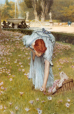 Oil painting Lawrence Alma-Tadema - Young girl collecting flowers Nice plants