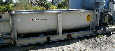 """Diamond Stainless Steel 36"""" Twin Shaft Pug Mill Mixer with 75HP Motor & Drive"""