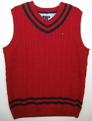 Tommy Hilfiger Boys Red/Navy Cableknit Vest (XL-20) NWT