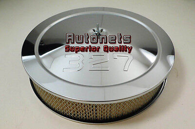 """14"""" Chevy 327 Logo Chrome Steel Air Cleaner Filter Street Hot Rod Recessed Base"""