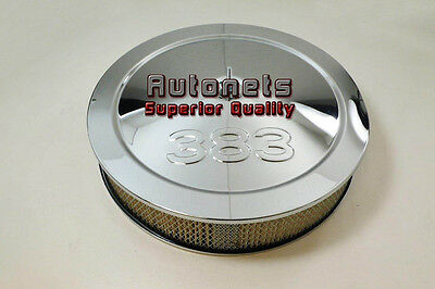 """14"""" Chevy 383 Logo Chrome Steel Air Cleaner Filter Street Hot Rod Recessed Base"""