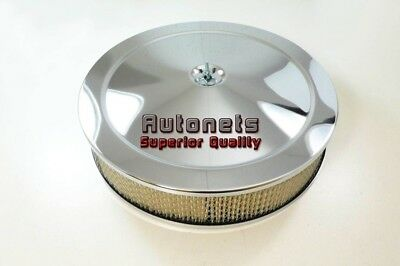 "14"" Round Muscle Car Chrome Air Cleaner Street Hot Rod Breather Kit Drop Base"